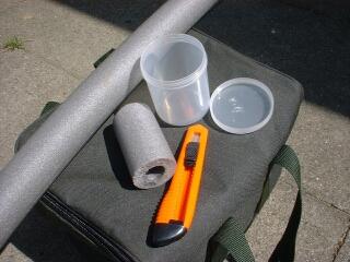 Benötigtes Material und Werkzeug für die Vorfachdosen.